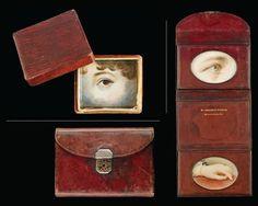"""So-called """"memory box"""" made of embossed and painted paper containing eye miniature, ca. 1830. 1-1/4 x 1-1/4 x 3/8 inches.  BOTTOM AND RIGHT: Dark-red leather wallet with gold decorated engine turned clasp containing eye and hand miniatures, stamped with the inscription, """"MY DARLING'S SUNSHINE/THE 26 OF MARCH 1882,"""" 1882. Case (open): 3-7/8 x 9-5/8 x 1/4 inches."""
