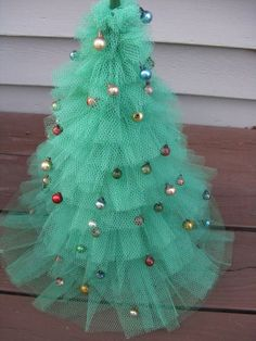 Steps to Making a Christmas Tree out of Tulle | Christmas tree ...