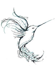 Simple Hummingbird Tattoo Design