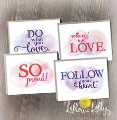 A vote of confidence goes a long way  to inspire others. And, often a thoughtful note is all it takes. Show friends and family you love, encourage and support them with a handmade card. Set of four with Kraft envelopes. etsy.com/shop/lellowlolly