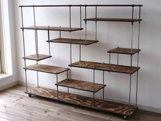 wood iron shelf 970*1200*225   ハンドメイド、手作り作品の通販 minne(ミンネ)