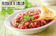 """March is going to be all about """"Salsa & Tequila""""!  Visit #Connexions 24X7 Bar and Lounge for some #CrispyNachos as well as #FlavorsomeSalsa and while you are there do not forget to sip in some Tequila based cocktails! #CrownePlazaTodayGurgaon"""