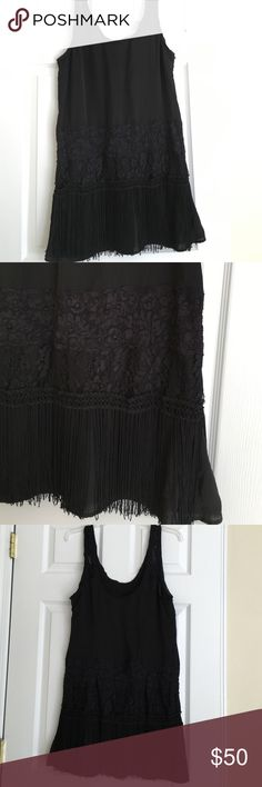 Free People black tank dress with fringe and lace Perfect for a flapper costume or fun party dress! EUC. Lined. 100% polyester. 36 inches long. Free People Dresses