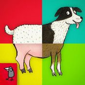 Animal SnApp: Farm. Diggity Dog and Portly Pig are just a couple of the interactive stories in this app, each featuring a different farm animal. The rhyming stories are sweet and the (optional) narration is done by an adorable-sounding British child. iTunes only.