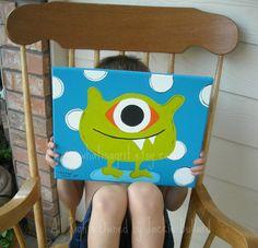 Nursery Wall Art, Kids Room, Children's Room Decor, Monster Art, Monster Design, One Eyed Willie, 11x14 Canvas