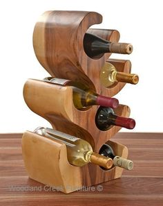Unique Wood Wine Bottle Holder #CreativeWoodworkingProjects #WoodworkingTools