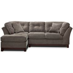 Solace Gray II 2 Pc. Sectional (Alternate) ($1,000) ❤ liked on Polyvore featuring home, furniture, sofas, gray sofa, gray couch, grey tufted couch, tufted sectional and grey microfiber sectional