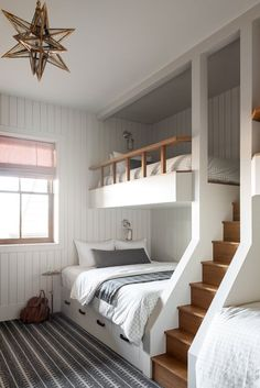 Bunk Beds Built In, Bunk Bed Rooms, Modern Bunk Beds, Kids Bunk Beds, Bedrooms, Room Ideas Bedroom, Bedroom Decor, Bunk Bed Decor, Kids Bedroom