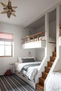 Bunk Bed Designs, Kids Bedroom Designs, Room Ideas Bedroom, Bedroom Decor, Bunk Bed Decor, Bunk Beds Built In, Built In Beds For Kids, Kids Bunk Beds, Deco Studio