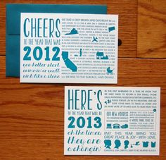 Teal Graphic Moving Announcement Holiday Cards Studio Epherma 550x530 Camdens Typographic Year In Review Holiday Cards
