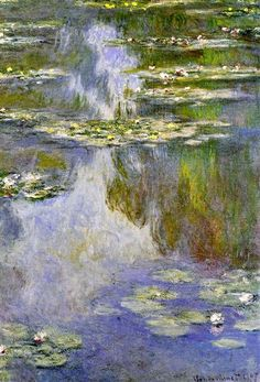 Water Lilies, 1907 by Claude Monet. Impressionism. flower painting