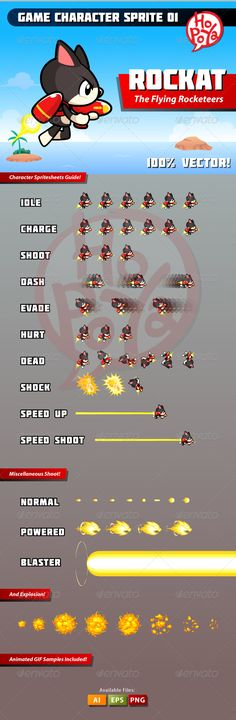 Game Character Sprite 01 2d, action, adventure, android, animal, animation, art, assets, cartoon, cat, character, flash, game, gun, hero, illustration, ios, ipad, iphone, item, mobile, object, platform, rocket, set, shooting, side scroller, sprite sheet, super, vector, Game Character Sprite 01