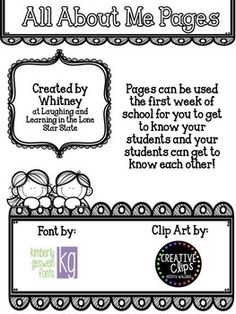 These pages were created to be used in Pre-K thru 3rd Grade classrooms as a way to get to know your students at the beginning of the year. They can be used to decorate the hallway, your classroom or be put in a book to share with the class. If you would like me to edit this in any way to fit your needs please e-mail me at laughinglonestarteacher@gmail.com.