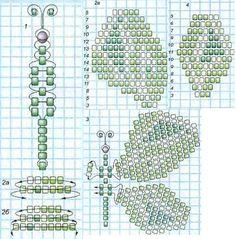 схема плетения зеленой бабочки