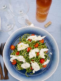 Pesto Coodles (Courgette Noodles) with Burrata and Cherry Toms | The Londoner