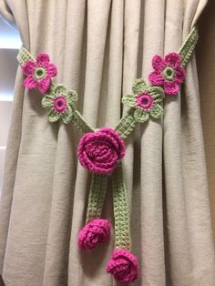 Crochet Curtian Tieback - pink flower/sage green band (1 pair) by JinesCrafts on Etsy