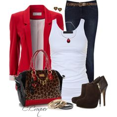 """""""Denim+Red+Leopard"""" by ccroquer on Polyvore"""