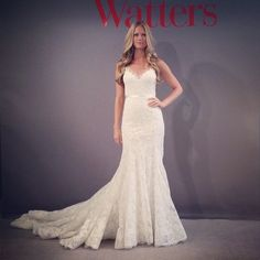 Watters & Wtoo Spring 2014 #  A-line gown # V neckline # simple # lovely bottom (via bridal guide magazine facebook)
