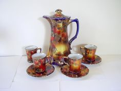 Image Detail for - Art Nouveau Chocolate Teapot and Cup Set Hand Painted Nippon Noritake