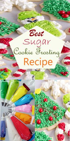 My Desserts: Best Sugar Cookie Frosting Recipe- perfect for Christmas Cookies Christmas Cookie Icing, Holiday Cookies, Christmas Baking, Christmas Sweets, Holiday Baking, Kids Christmas, Cookie Frosting Recipe, Frosting Recipes, Frosting For Sugar Cookies