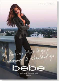 Bebe. Clipped from Marie Claire using Netpage. Love their adds