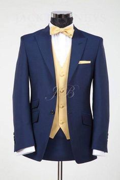 Men's Blue Wedding Suits, Vintage Wedding Groomsmen, Bow Tie Wedding Suit, Navy B … Beauty And The Beast Wedding Theme, Wedding Beauty, Wedding Men, Wedding Attire, Wedding Gold, Trendy Wedding, Dress Wedding, Wedding Bow Ties, Beauty And The Beast Dress