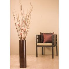 Flowers with 27-inch Brown Bamboo Cylinder Floor Vase