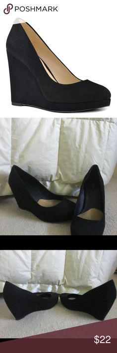 Black wedges - Suede material with rubber soles  - Tan cushion inserts can be removed if need be, but I think they help add support and comfort somewhat!  - Open to offers! Apt.9 Shoes Heels