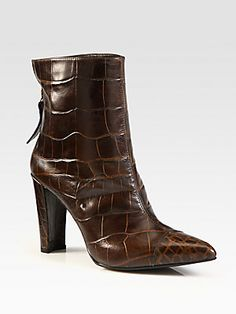 Stuart Weitzman Tipbootie Crocodile-Print Leather Ankle Boots: i <3 a sharp-pointed toe, and <3 so much a reptile print. $475.00