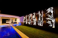 Ideas Exterior Wall Cladding Corten Steel For 2019 Outdoor Wall Art, Outdoor Walls, Backyard Pool Designs, Backyard Landscaping, Landscape Lighting, Outdoor Lighting, Backyard Lighting, Lighting Ideas, Fence Design