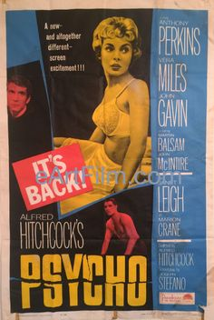 Psycho-Alfred Hitchcock-Anthony Perkins-Janet Leigh-John Gavin-R65-27x41