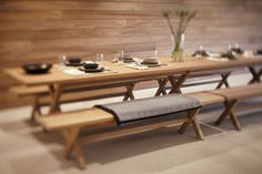 James Perse dining table and bench
