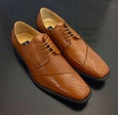 LA MILANO Men's Leather Lace Up Dress Shoes A1124 Tan #Leather #LaceUp