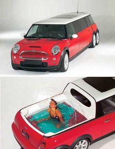 Mini Cooper with pool. Hahahaha Oh....my....
