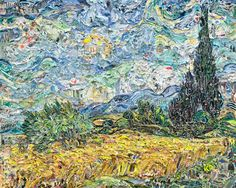 """Classic Masterpiece Paintings Made of Shredded Magazines. Artist Vik Muniz, who we've seen turn junkyard scraps into classic masterpieces, is one such artistic magician. In his latest series titled Pictures of Magazines 2, the New York-based Brazilian artist strips down issues of magazines, newspapers, volumes of books, and varied pop culture media, using their shredded pages to serve as brushstrokes for his """"paintings"""" that, once again, recreate classic works of art."""