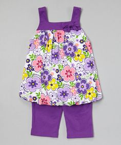 Look what I found on Purple Floral Bubble Tunic Capris - Infant, Toddler Girls Toddler Outfits, Kids Outfits, Cute Outfits, Baby Dress Design, Purple Outfits, African Women, Infant Toddler, Toddler Girls, Kids Fashion