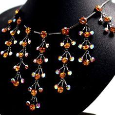 Wedding Tree-like Topaz Crystal Shiny Gun Plating Earring Necklace Set NS1989A