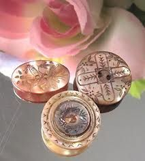 Lusterous Victorian Etched Mother-of-Pearl Buttons