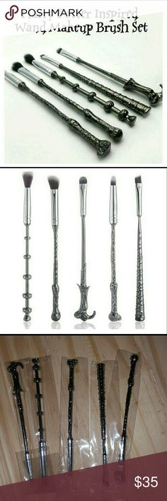 Harry Potter Makeup Brush Set The set includes 5 makeup brushes, with metal handles replicating the wands of Harry Potter, Ron Weasley, Hermione Granger, Albus Dumbledore, and Lord Voldemort.  100% brand new and high quality! The brushes are soft and silky to the touch. They apply makeup evenly and are easy to clean. A limited edition makeup brushes exquisitely crafted of metal alloy and are beautifully shaped as wands of characters from Harry Potter such as Hermione Granger, Harry Potter…