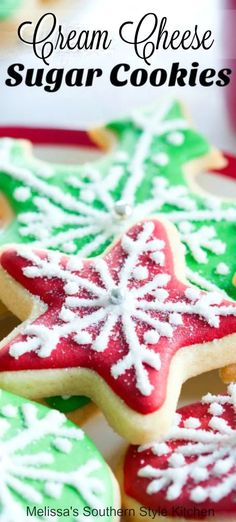 holiday Desserts with cream cheese - Cutout Cream Cheese Sugar Cookies Cream Cheese Sugar Cookies, Best Sugar Cookies, Christmas Sugar Cookies, Christmas Sweets, Christmas Cooking, Yummy Cookies, Holiday Cookies, Christmas Foods, Cut Out Cookies
