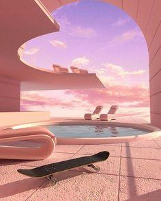 Aesthetic Space, Pink Aesthetic, Aesthetic Backgrounds, Aesthetic Wallpapers, Fuchs Illustration, Retro Interior Design, Vaporwave Art, Futuristic Architecture, Futuristic Interior
