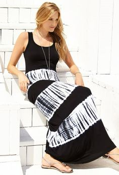 Thinking SUMMER! Love this look. Super Comfy, Sleeveless Tie Dye Maxi Dress + Strappy Sandals
