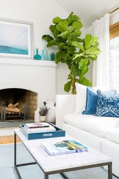 Coastal living room features a white shelter back sofa draped in blue pillows facing a long rectangular marble top coffee table atop a blue rug.