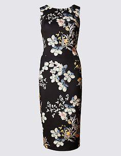 Scuba Print Sleeveless Bodycon Dress | M&S