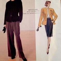 This easy to do #Vogue pattern 2355 is for three garments. 1) A loose-fitting, lined, slightly above hip jacket (semi-fitted through waist), with shoulder pads and long sleeves. 2) A straight skirt below mid-knee, with raised waist, side front pockets and back zipper.  3) Wide-legged pants have front button waistband, front pleats, side front pockets and mock fly zipper.