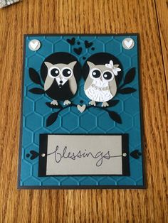 Wedding card made with Owl punch from stampin up
