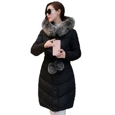 2016 Down Parka Winter Jacket Women Cotton Padded Thick Ultra Light Long Coat Faux Fur Collar Hooded Female Jackets For Woman Long Jackets For Women, Winter Jackets Women, Faux Fur Collar, Fur Collars, Latest Winter Fashion, Down Parka Women, Long Faux Fur Coat, Langer Mantel, Winter Trends