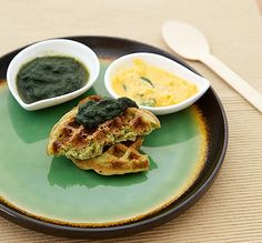 Moong Dal Indian Waffles: These hybrid dosa waffles look good. These dal waffles are made with green lentils (moong dal) and served with a double dose of spicy chutney on top.