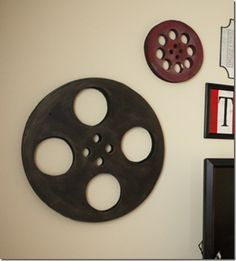 DIY Movie Reels and Signs ~ for the Basement Movie Pit