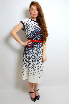 VTG 80s NAVY BLUE WHITE LEOPARD STRIPED PATTERNED CAP SLV SHIRT DAY DRESS